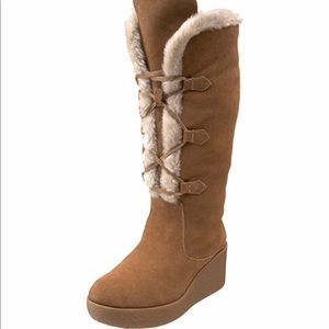 Michael Kors Suede Winter Wedge Boots